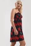 Sheered Bardot Red Floral Mini Swing Dress - bejealous-com