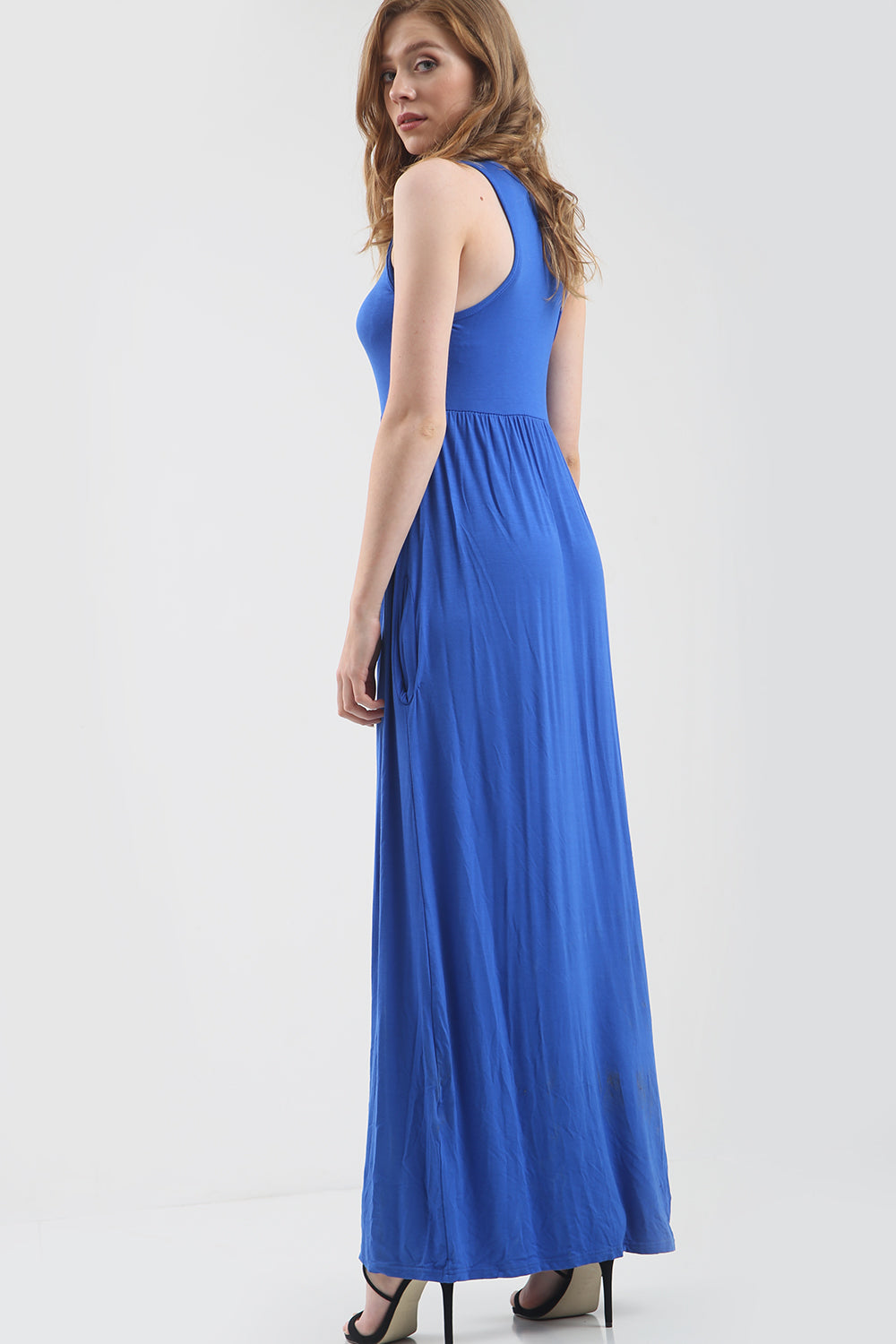 Jersey Sleeveless Maxi Dress with Pockets - bejealous-com