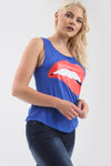 Lips Graphic Print Curved Hem Vest Top - bejealous-com