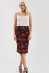 Jessica High Waisted Black Floral Midi Skirt - bejealous-com