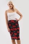 Jessica High Waisted Tropical Bodycon Midi Skirt - bejealous-com
