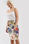 Cream High Waisted Tropical Print Midi Skirt - bejealous-com