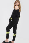 Bardot Neon Striped Knitted Lounge Wear Coord - bejealous-com
