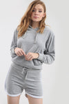 Grey Faux Velvet Oversize Hooded Coord Set - bejealous-com