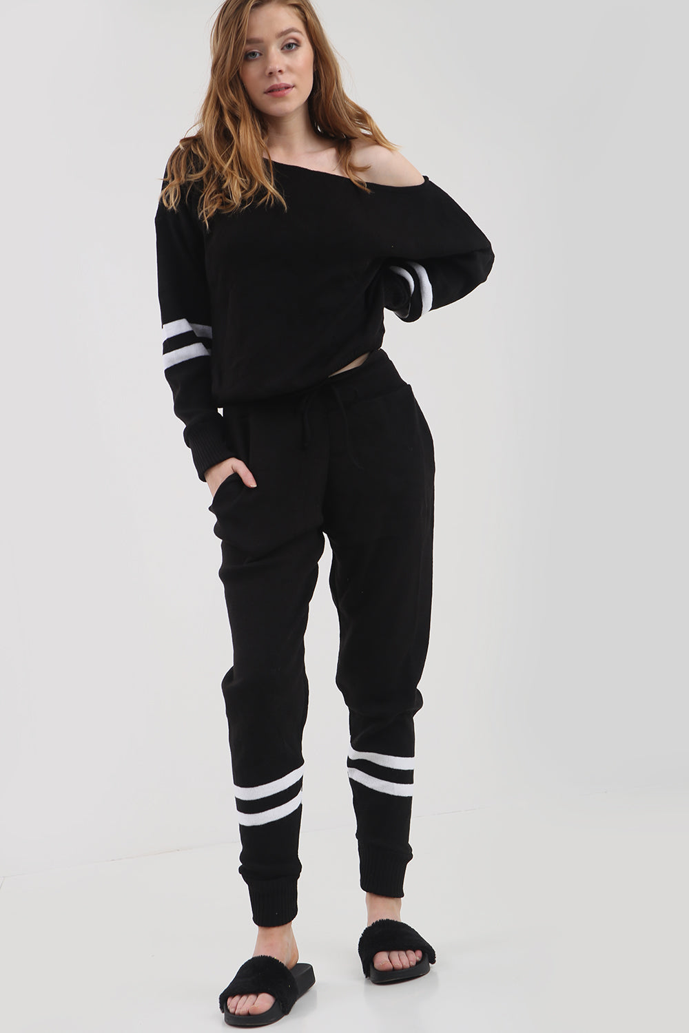 Monochrome Striped Knitted Lounge Wear Coord - bejealous-com