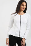 Alice Zip Up Peplum Ruffle Frill Blazer Top