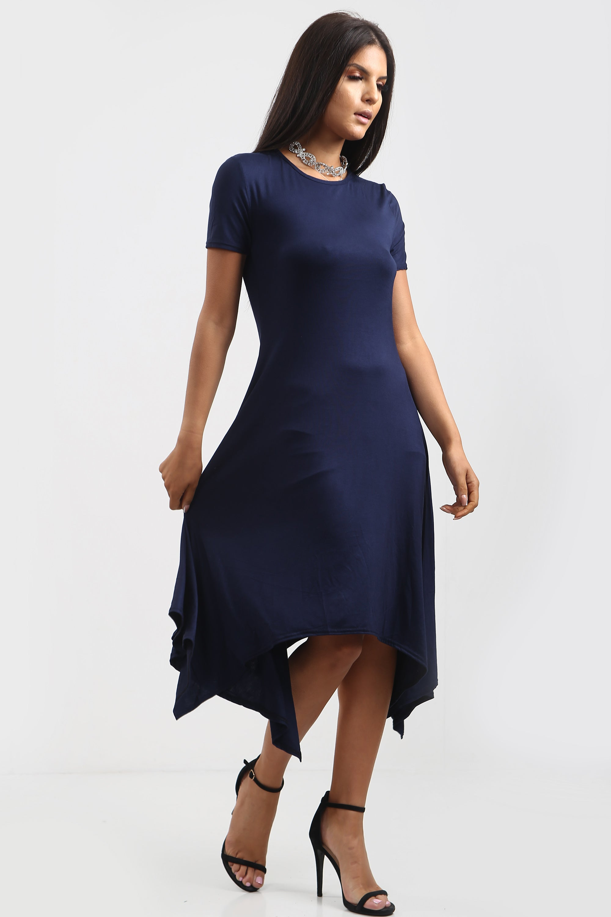 Chloe Hanky Hem Stretchy Swing Midi Dress