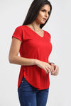 Isla Plain V Neck Curved Hem T Shirt