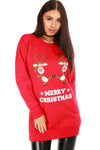 Merry Christmas Reindeer Print Red Jumper