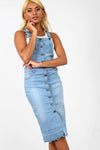 Light Wash Button Through Denim Midi Dress - bejealous-com