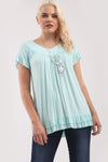 Peplum Frill V Neck Tunic Top With Necklace - bejealous-com
