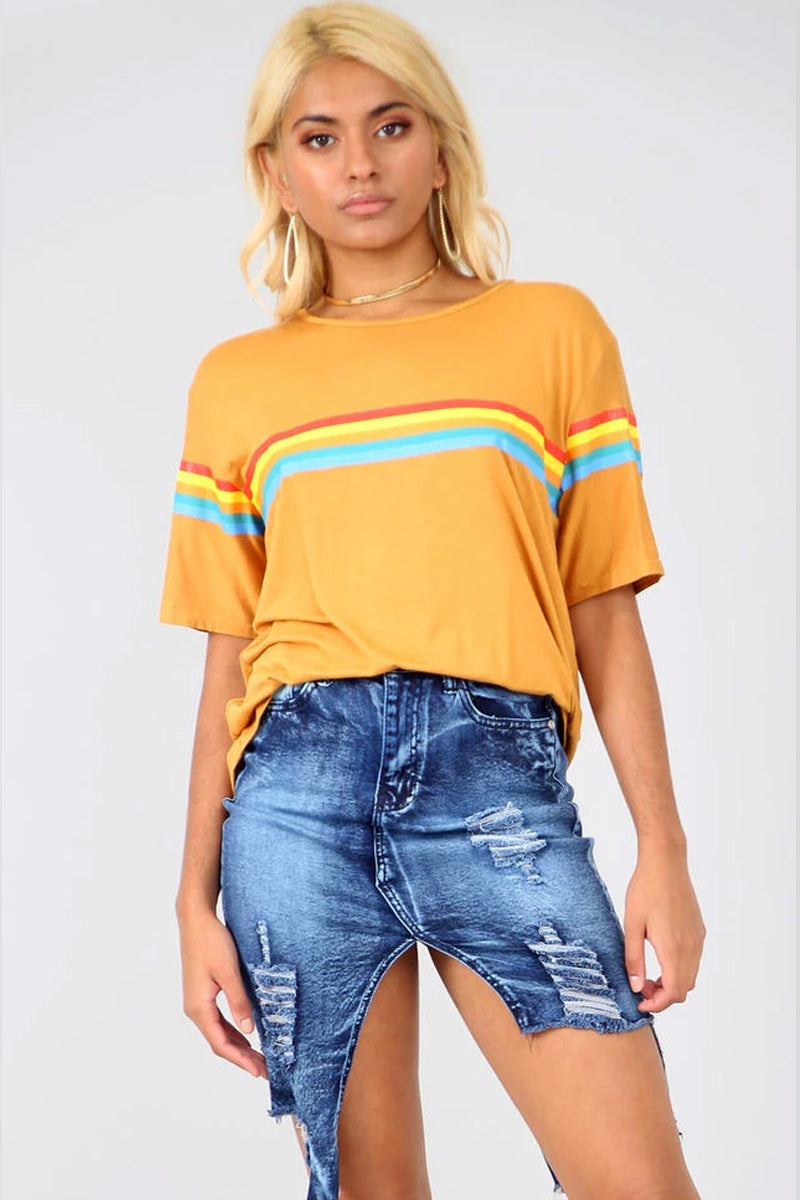 Mustard Oversize Tshirt with Rainbow Stripes - bejealous-com