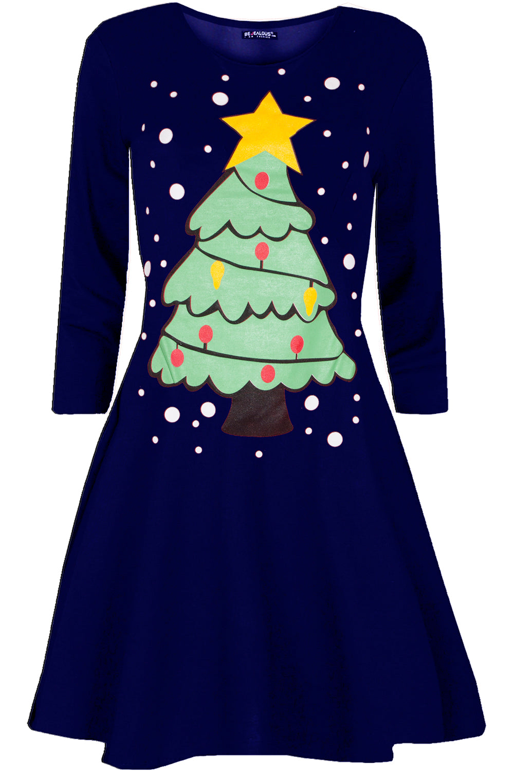 Long Sleeve Christmas Tree Swing Dress