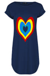Emily Rainbow Heart Oversized Curved Hem Mini Tee Dress
