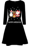 Merry Christmas Print Long Sleeve Swing Dress