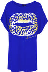 Lips Gold Foil Printed Batwing Oversized T Shirt