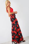 High Waist Red Floral Fish Tail Maxi Skirt