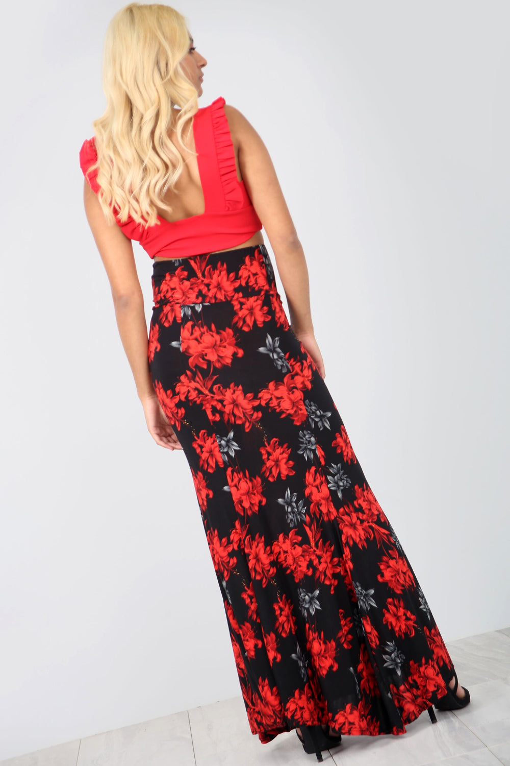 High Waist Red Floral Fish Tail Maxi Skirt - bejealous-com