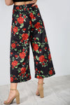 High Waist Rose Print Wide Leg Culottes - bejealous-com