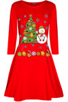 Long Sleeve Christmas Print Mini Dress - bejealous-com