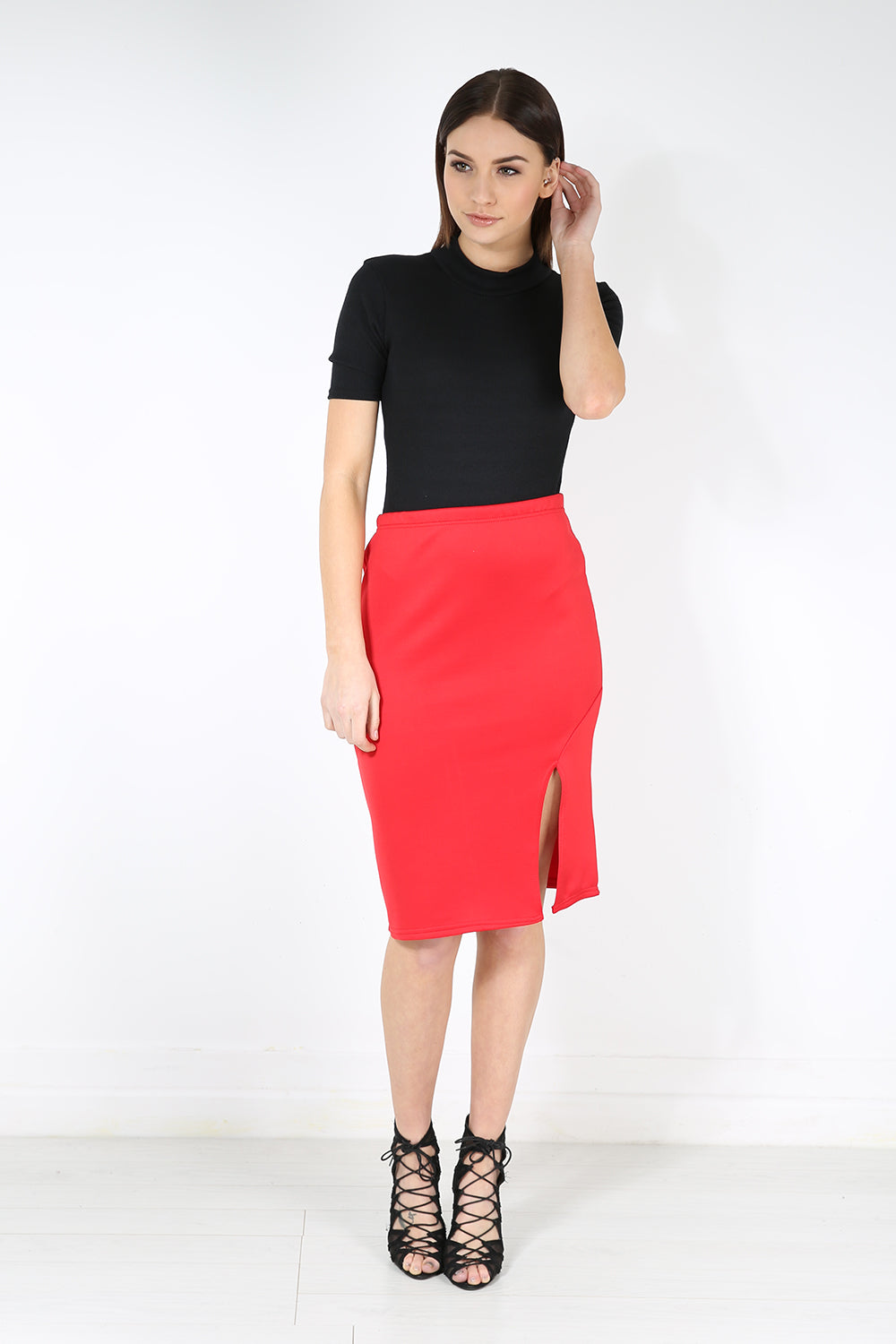 Chloe Side Split Bodycon Midi Skirt