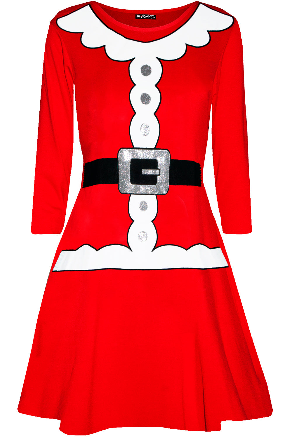 Long Sleeve Mrs Clause Christmas Dress - bejealous-com