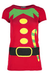 Christmas Elf Graphic Print Cap Sleeve Tshirt - bejealous-com