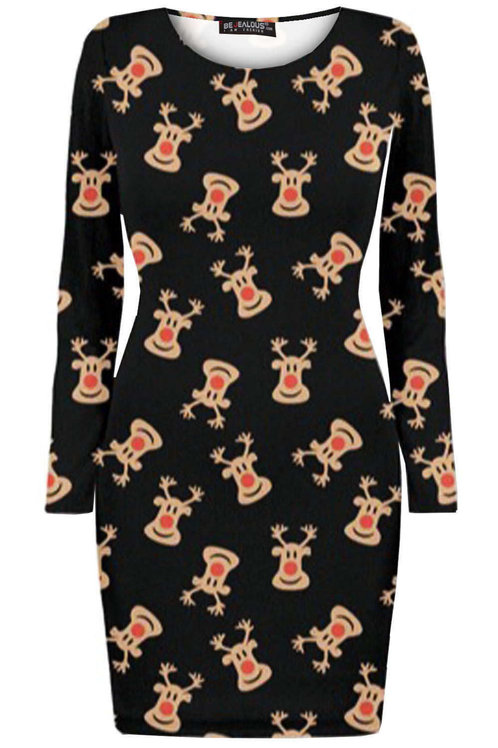 Mia Christmas Print Long Sleeve Bodycon Dress