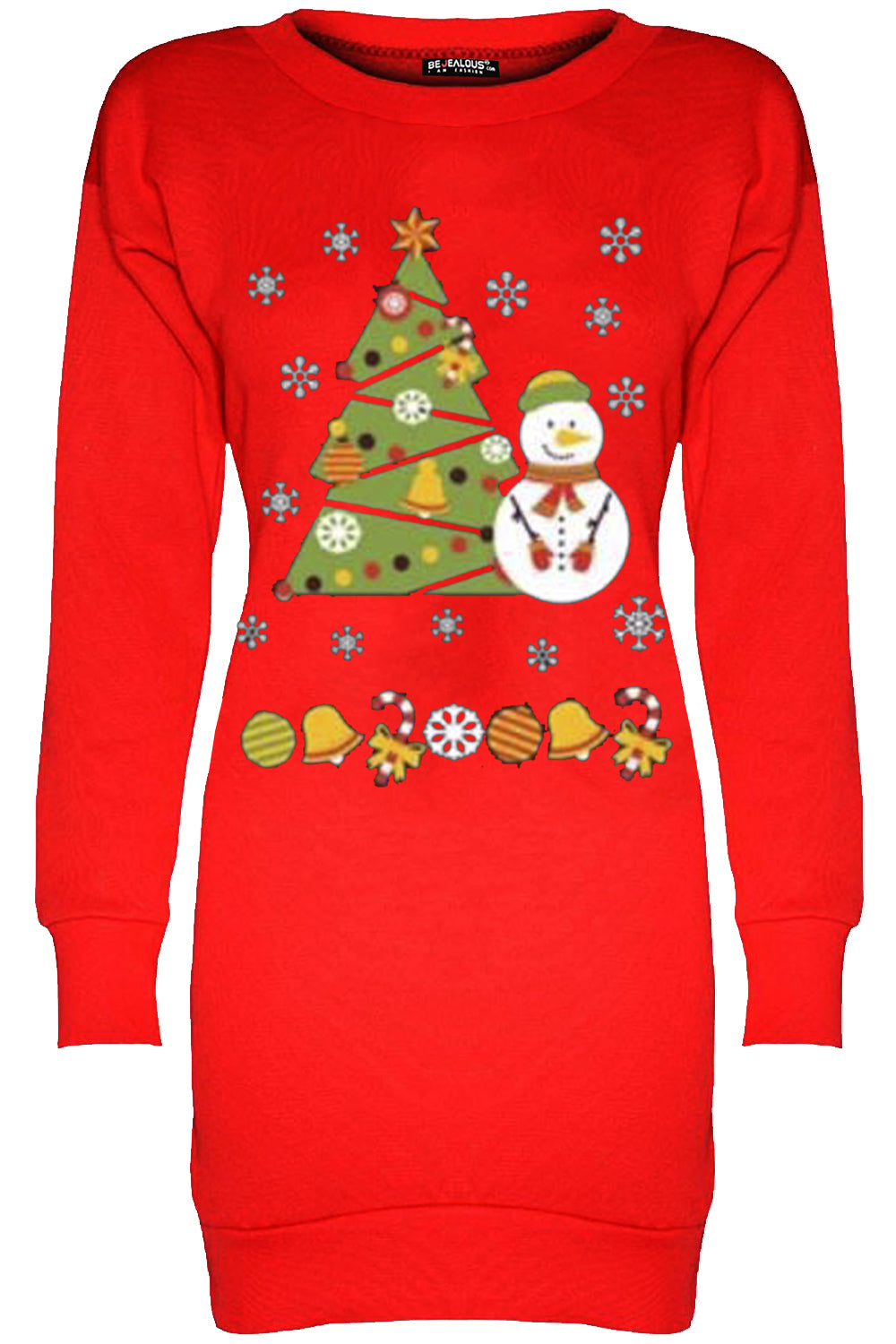 Festive Print Christmas Jumper Dress - bejealous-com