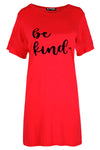 Mia Be kind Heart Oversized Baggy T-Shirt Dress