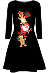 Long Sleeve Christmas Print Black Dress - bejealous-com