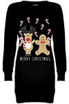 Merry Christmas Reindeer Print Jumper Dress