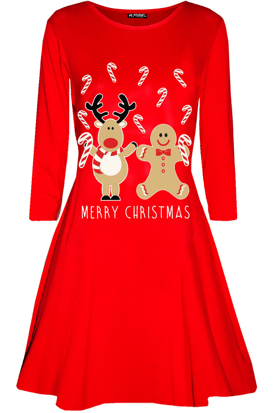 Christmas Print Long Sleeve Swing Dress - bejealous-com