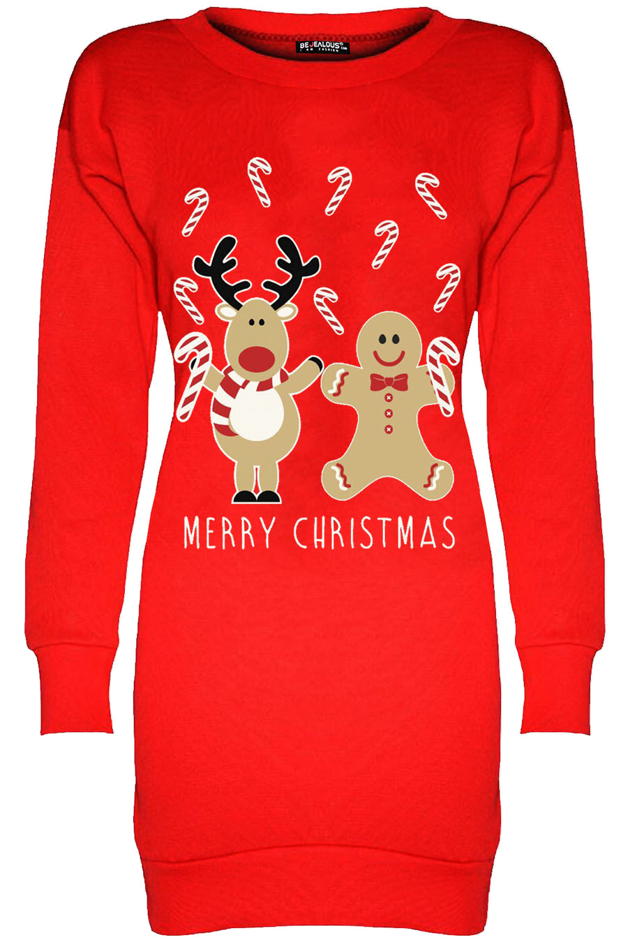 Merry Christmas Reindeer Print Jumper Dress - bejealous-com