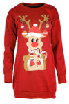 Long Sleeve Reindeer Print Baggy Jumper - bejealous-com