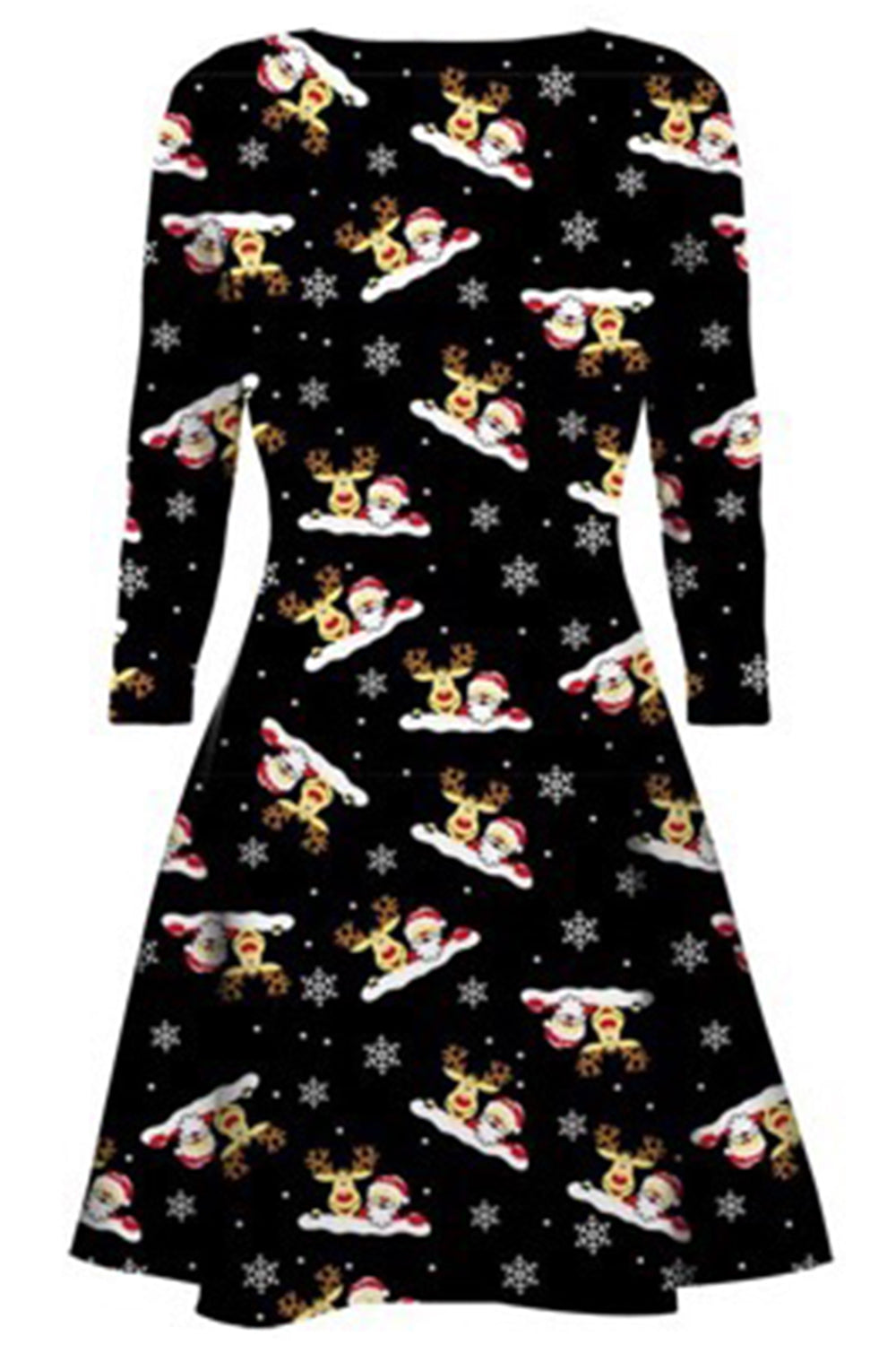 Emilia Long Sleeve Christmas Print Swing Dress