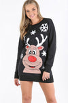 Long Sleeve Christmas Print Jumper Dress - bejealous-com