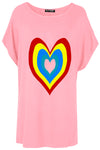 Isla Rainbow Heart Printed Batwing Oversized T Shirt