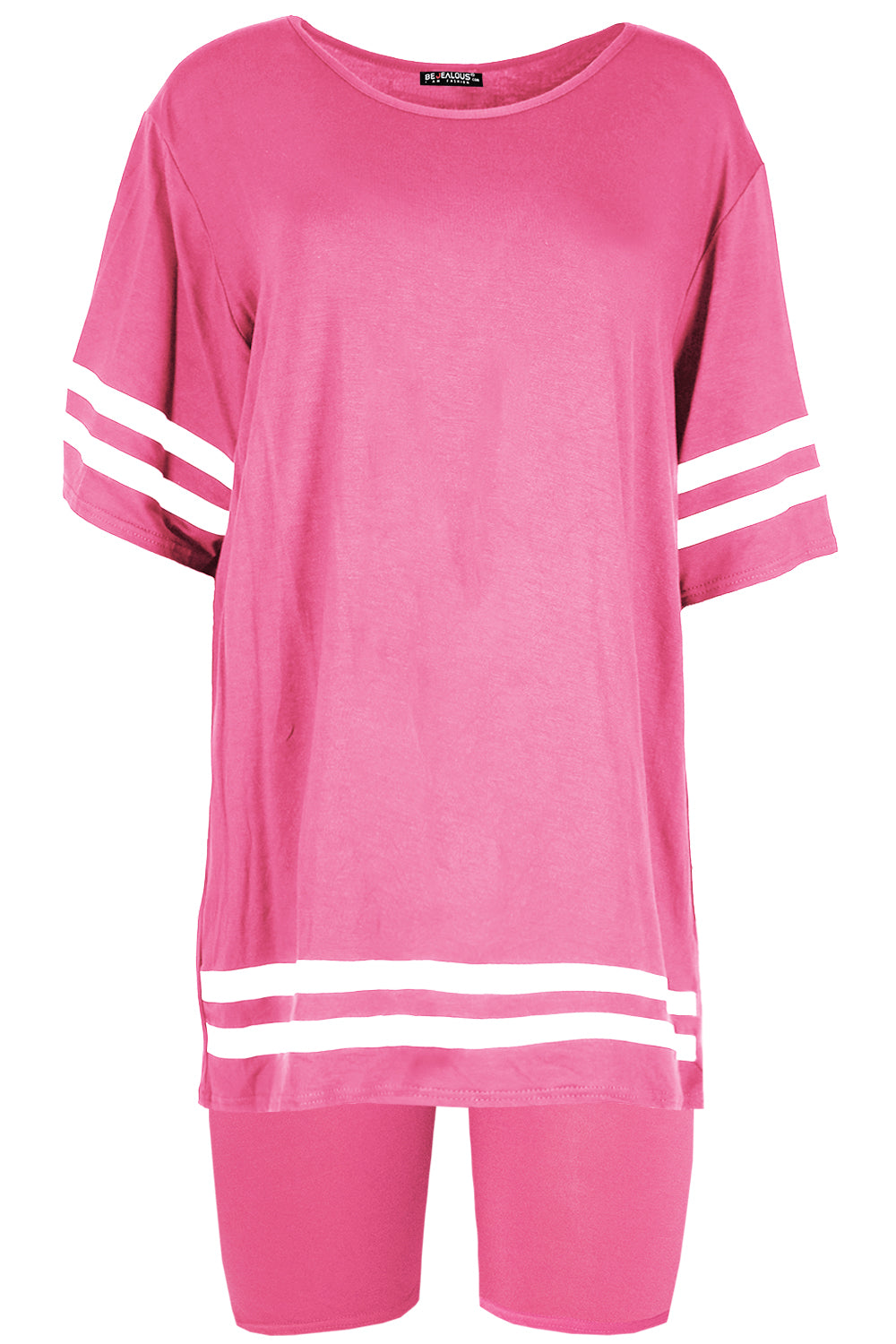 Ava Stripes Cycling T-Shirt Shorts Co-ord Set