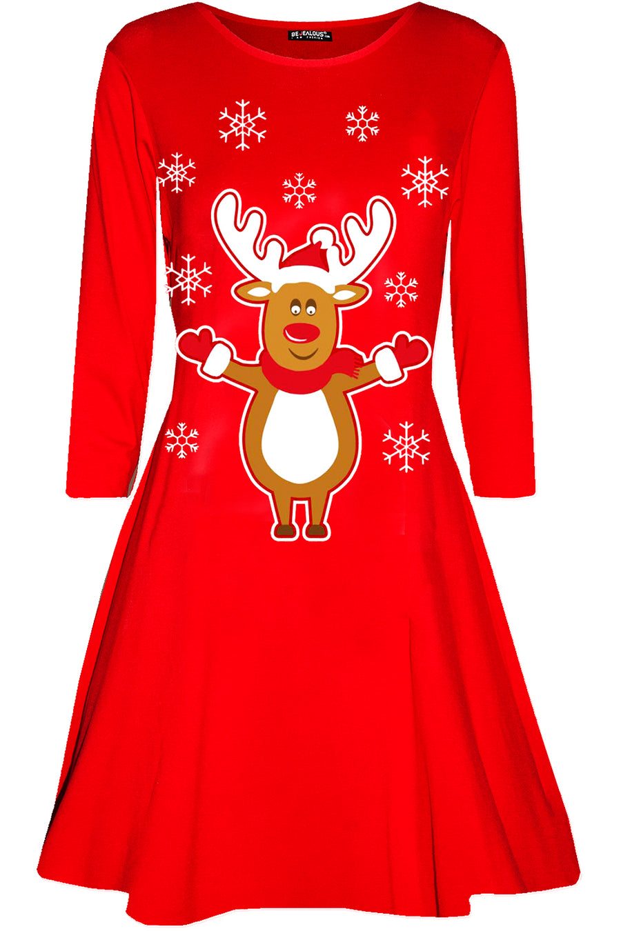 Long Sleeve Reindeer Print Mini Dress - bejealous-com