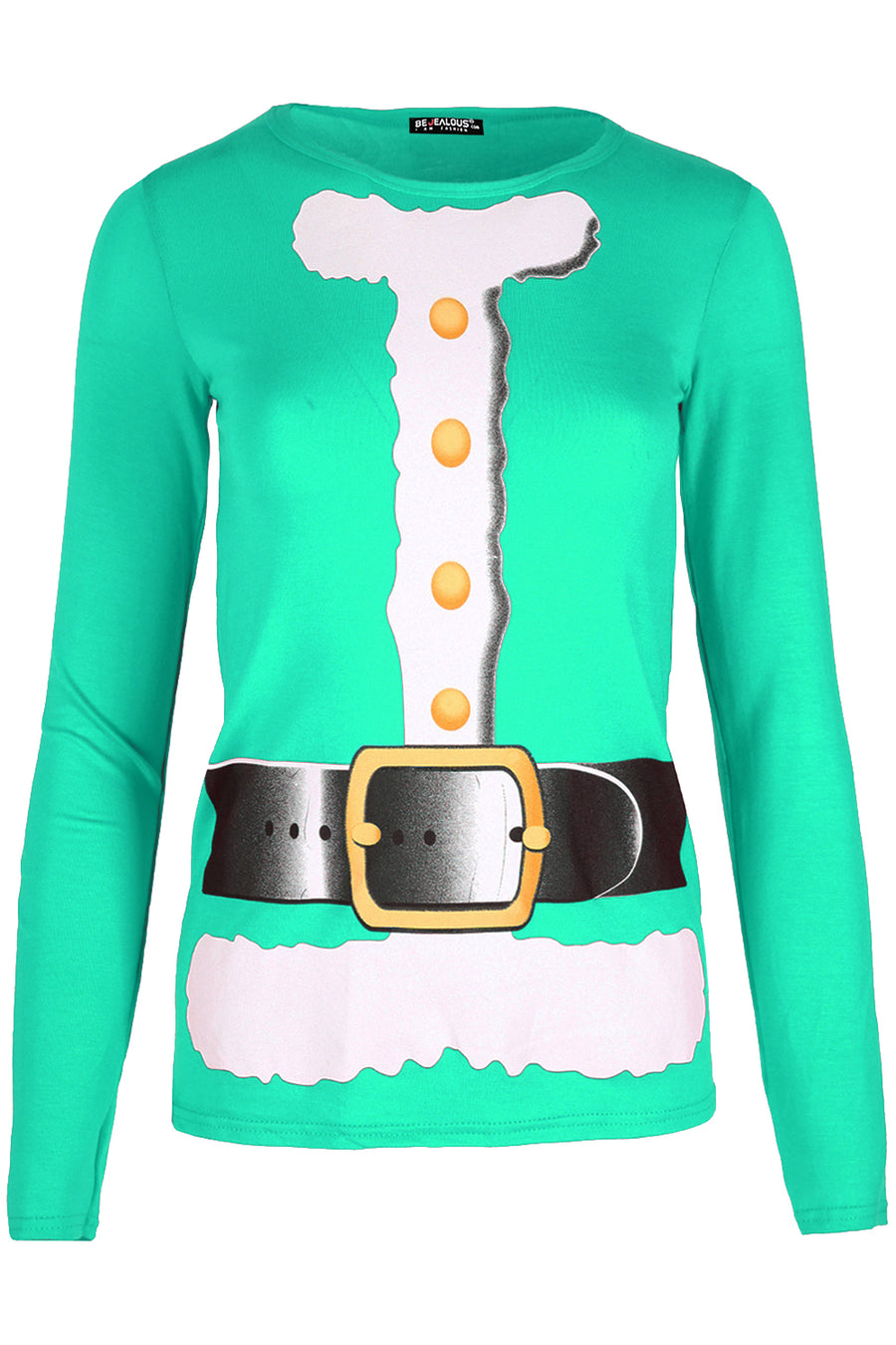 Amelia Santa Costume Long Sleeve Top In Red