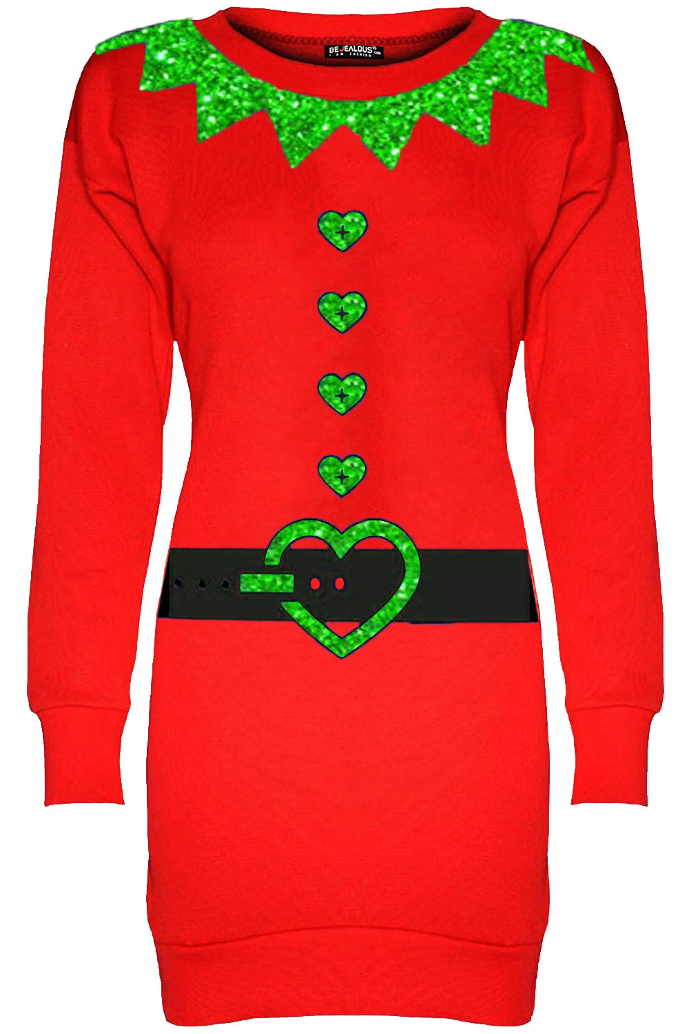 Long Sleeve Christmas Elf Jumper Dress