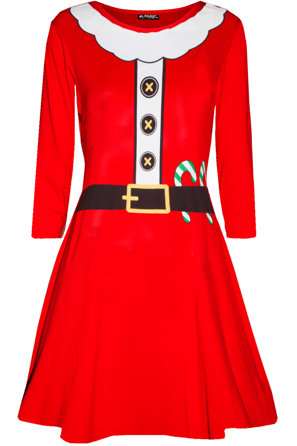 Long Sleeve Santa Costume Mini Dress - bejealous-com