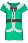Ava Christmas Cap Sleeve Santa Claus Ribbon Costume Belted Ladies T Shirt