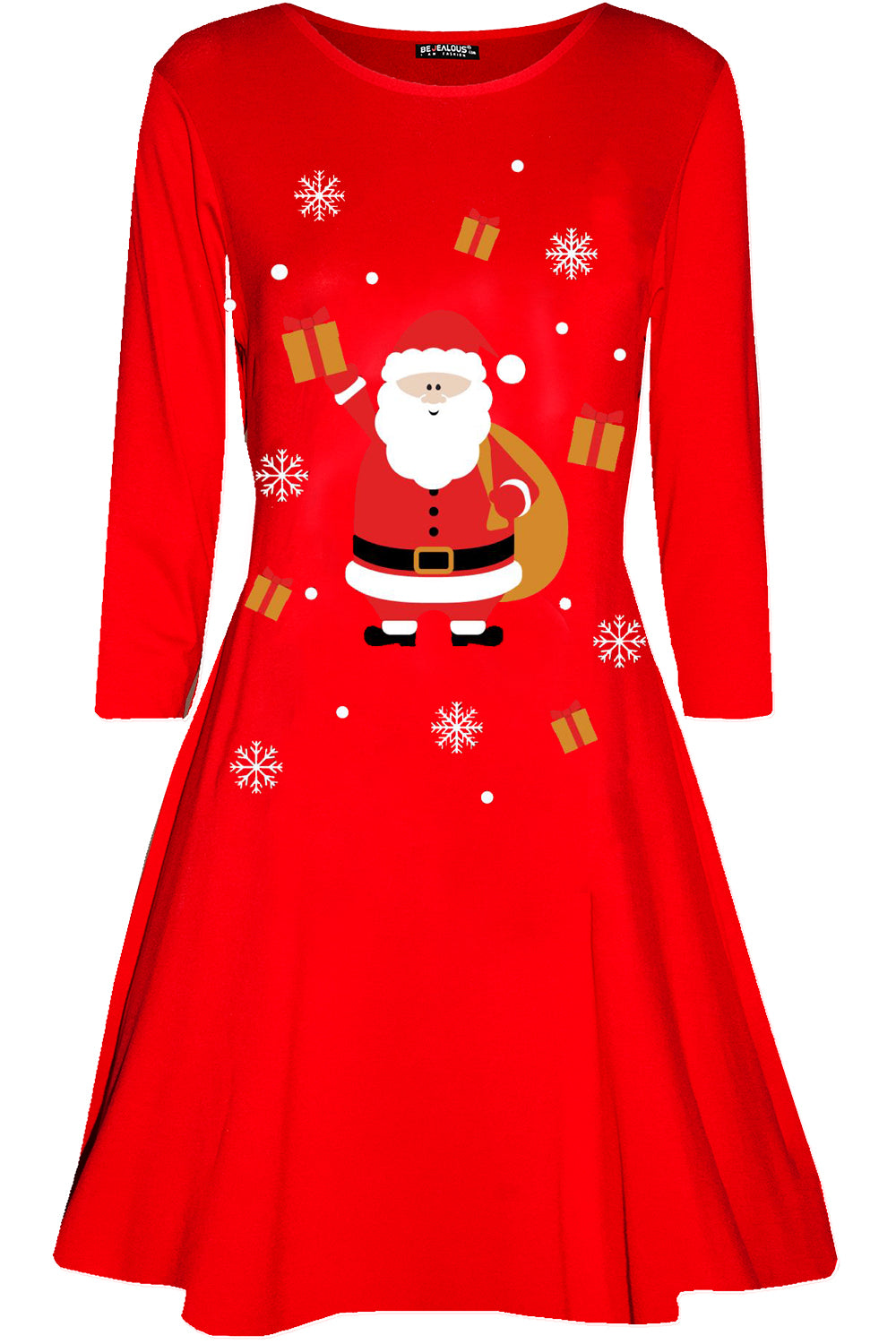 Christmas Santa Print Swing Dress