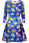 Bella Long Sleeve Christmas Print Swing Dress