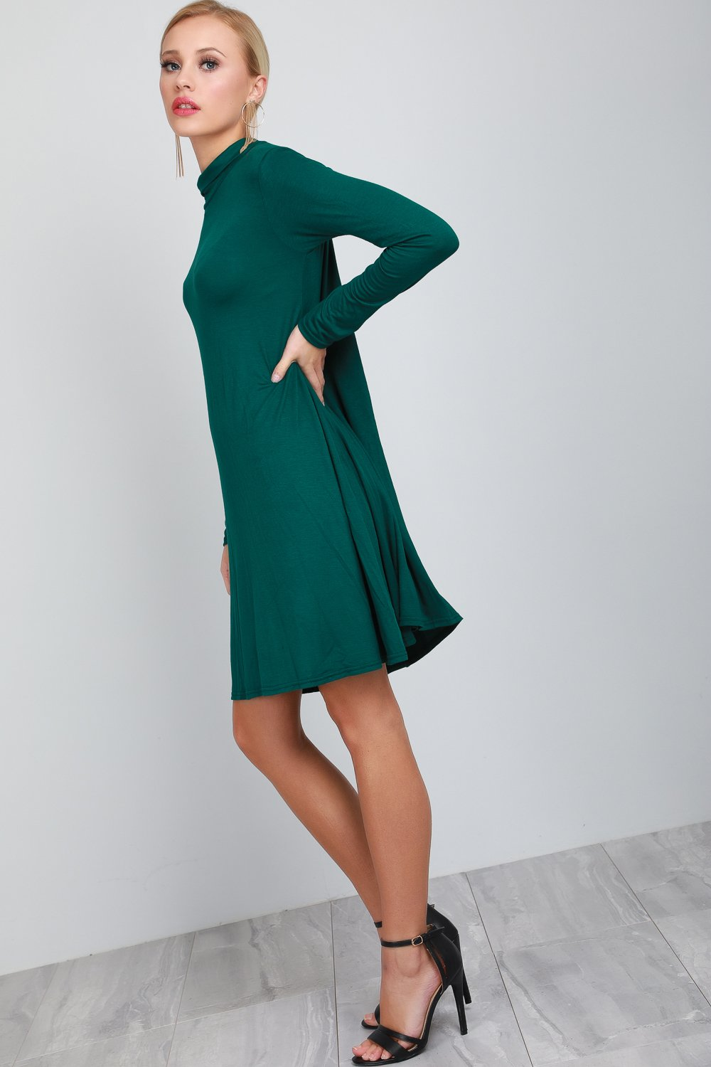 Elsie Polo Neck Long Sleeve Flared Swing Dress