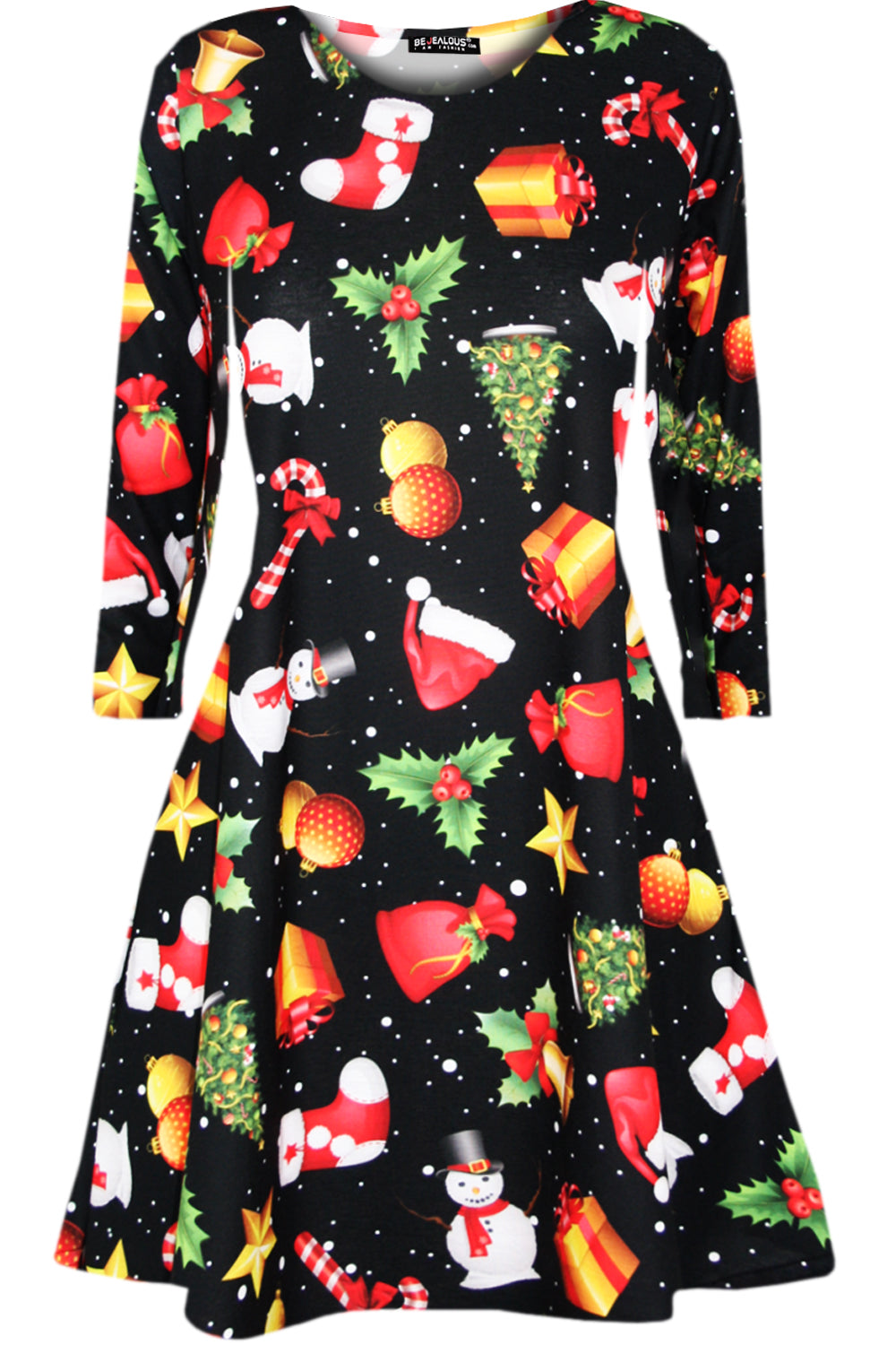Gracie Long Sleeve Christmas Print Dress