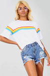 White Oversized T-shirt with Rainbow Stripe - bejealous-com