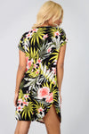 Floral Leaf Print Curved Hem Baggy Tshirt Dress - bejealous-com